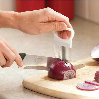 Onion Tomato Vegetable Slicer Cutting Aid Guide Holder Slicing Cutter Gadget B5