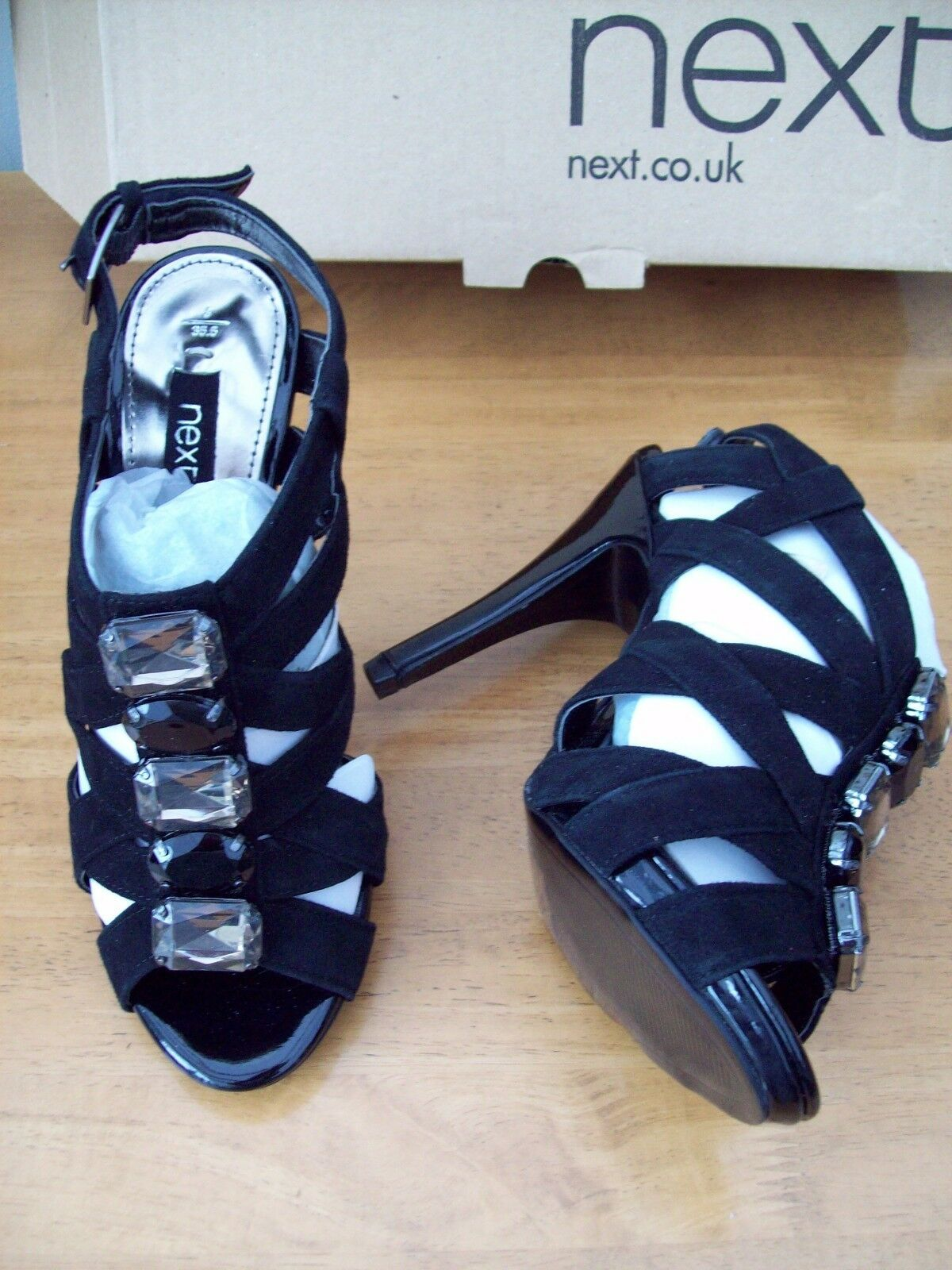 NEXT BLACK SUEDE HIGH STRAPPY  STILETTO HEEL SHOES SIZE 3 NEW IN BOX