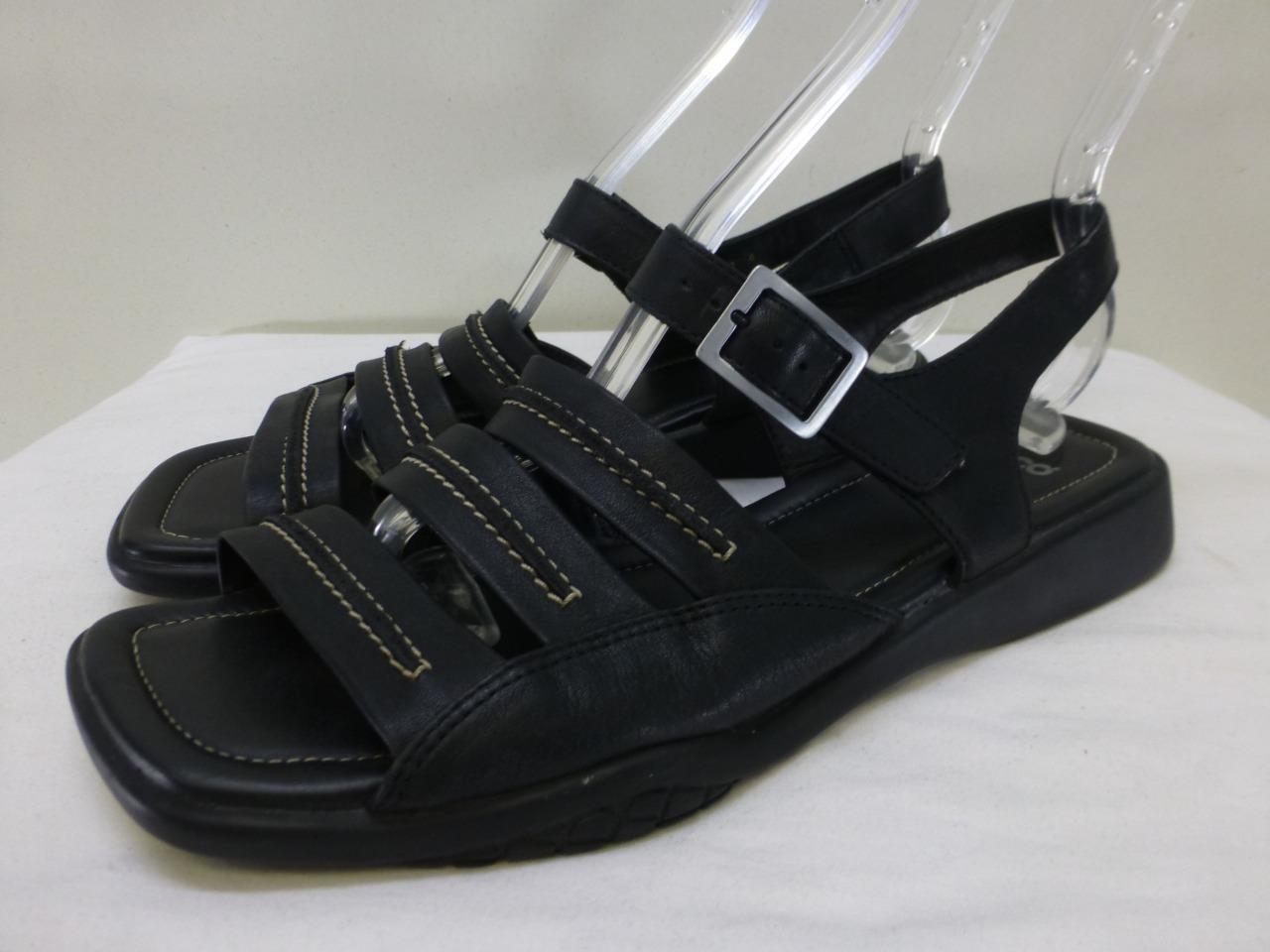 ECCO black leather adjustable slingback slingback slingback square toe Sandals shoes womens sz 8 bbe43c