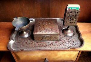 Vtg-Asian-Brass-Cigarette-Set-Tray-Cigarette-box-Pedestal-Match-Holder-amp-Ashtray