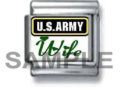 US ARMY WIFE 9MM ITALIAN CHARM LINK soldier love u.s. service military
