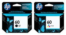 GENUINE NEW HP 60 (CC640WN/CC643WN) Black Color Ink Cartridge 2-Pack