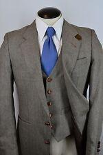 VTG Gentry Gray Herringbone Tweed Wool 3 Piece Wood Button Suit Sz 38R EUC
