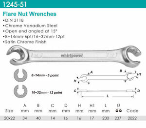 Whirlpower-Flare-Nut-Wrench-Satin-Finish-20x22mm-Automotive-Tools-NEW