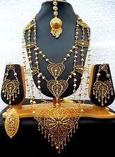 22K Gold Plated Net Like Heart Indian Wedding Necklace Earrings Tikka Ring