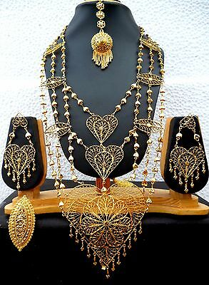 22K Gold Plated Heavy work 8/'/' Indian Wedding Necklace Earrings Tikka Ring