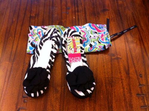 "Ladies /""Black Zebra/"" Ballet Flat Slipper Size S 5-6 NEW w//Tags Mud Pie"