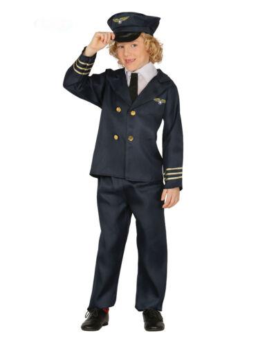 Piloten-Kostüm für Kinder Berufe and Uniform Karneval blau-goldfarben Cod.327917