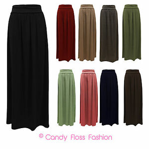 NEW-LADIES-WOMENS-LONG-JERSEY-MAXI-SKIRT-SIZES-8-14