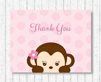 Girl Monkey Thank You Card Printable