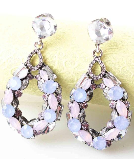 New gorgeous lady Elegant Crystal Rhinestone Ear Stud silver dangle Earrings 453