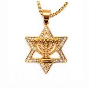Israel-Menorah-Judaism-Hebrew-Necklace-Star-of-David-Menorah-Gold-color-Religiou