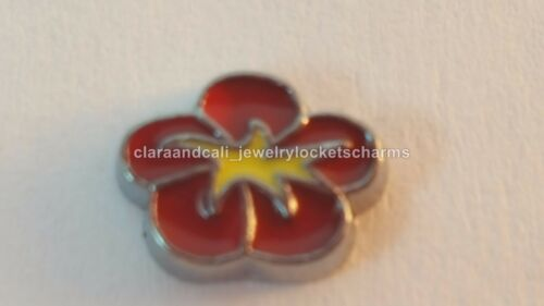 Red yellow Hibiscus Lei Flower Floating Charm for Memory Locket US fc818c