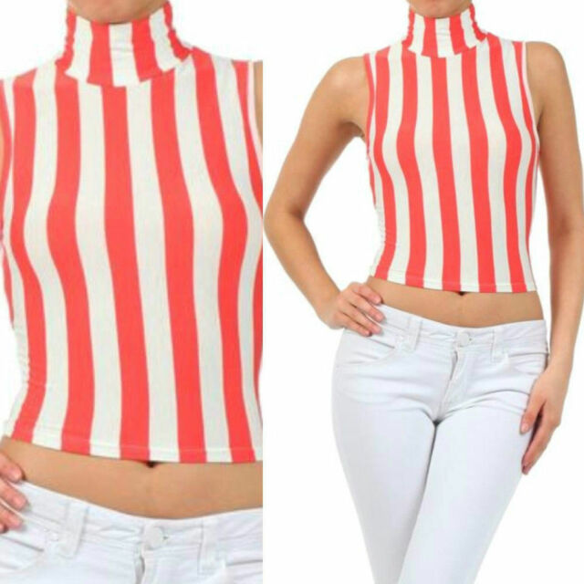 Crop Top S M L Sleeveless Coral White Striped Mock Turtleneck Soft Tank Summer