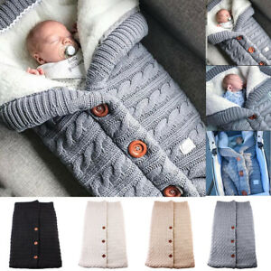 Newborn-Infant-Baby-Blanket-Knit-Crochet-Winter-Warm-Swaddle-Wrap-Sleeping-Bag