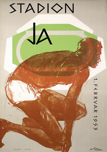 Old-1950s-HANS-FALK-Swiss-Design-Sports-Poster-Runner-Lot-345