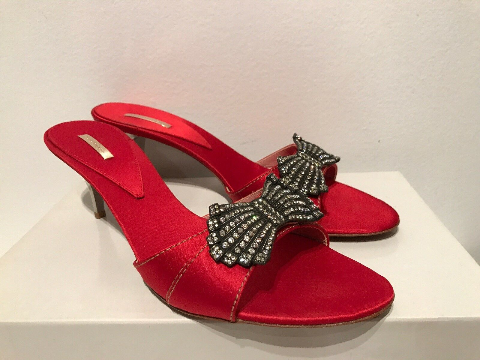 MARIO BOLOGNA SIAM femmes rouge SILK CRYSTAL BOW MULES SLIDES HEEL chaussures 40   9