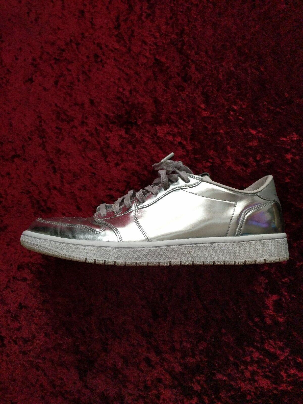 RARE Nike Air Jordan 1 Low Silver Chrome Pinnacle Swooshless Size US 12