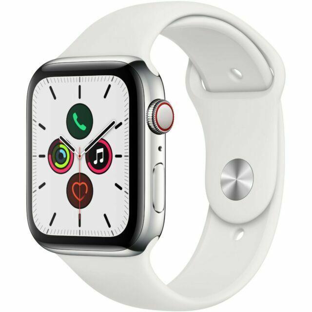 Apple Watch Series 5 44mm Stainless Steel Case White Sport Band Smart Watch Mww22lla For Sale Online Ebay