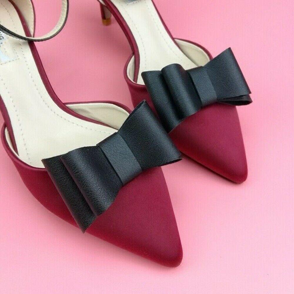 2pcs Shoe Clips PU Leather Bow Detachable Buckle Heels Charm DIY Accessories