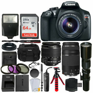 Canon EOS Rebel T6 DSLR Camera + 18-55mm +75-300mm+ 500mm Long + 64GB Card + Acc 13803271348