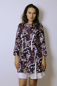 Dress Womens Special Long M Sheath Sleeves Brocade Floral Uk8 Occasion Purple qwH8A10