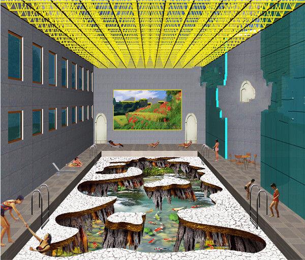 3D Pool Red Koi 9 Floor WallPaper Murals Wall Print Decal AJ WALLPAPER US Summer