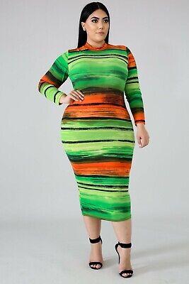 Plus Size Long Sleeve Green Orange Stripe Stretch Bodycon Midi Dress 1X 2X  3X   eBay