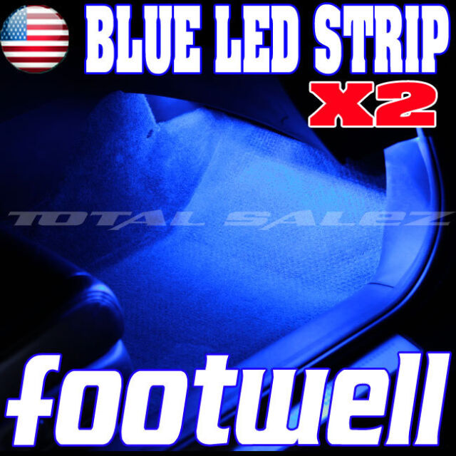 2X NEW BLUE LED FOOTWELL INTERIOR LED STRIP 2X12 UNDERDASH BULBS SMD  Z1