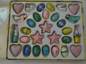 29-pc-Collectable-Wooden-Easter-Eggs-Bunny-Chicks-Ornaments-Ceramic-Heart-amp-Star