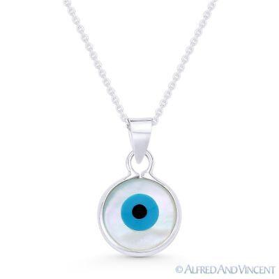 Evil Eye Pendant Necklace 925 Sterling Silver Blue Glass Bead Silver Bar