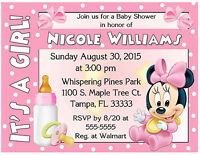 20 Baby Minnie Mouse Baby Shower Invitations - Printed With Envelopes