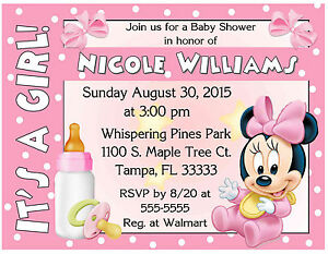 Image Is Loading 20 Baby Minnie Mouse Shower Invitations Printed