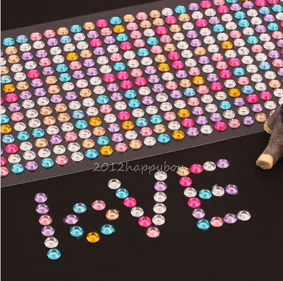 Rhinestone Self Adhesive CellPhone Car Computer Bling Stickers 3mm Crafts DTY