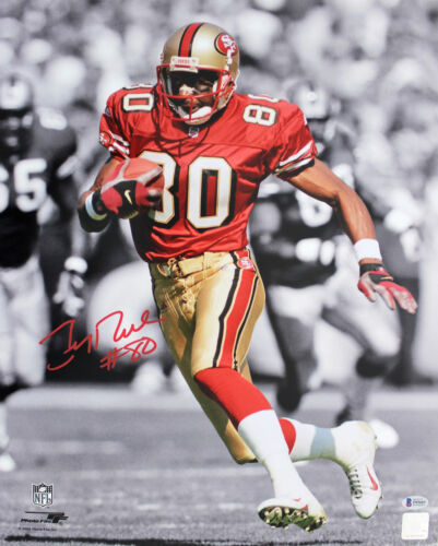 49ers Jerry Rice Authentic Signed 16x20 Vertical Spotlight Photo BAS Witnessed