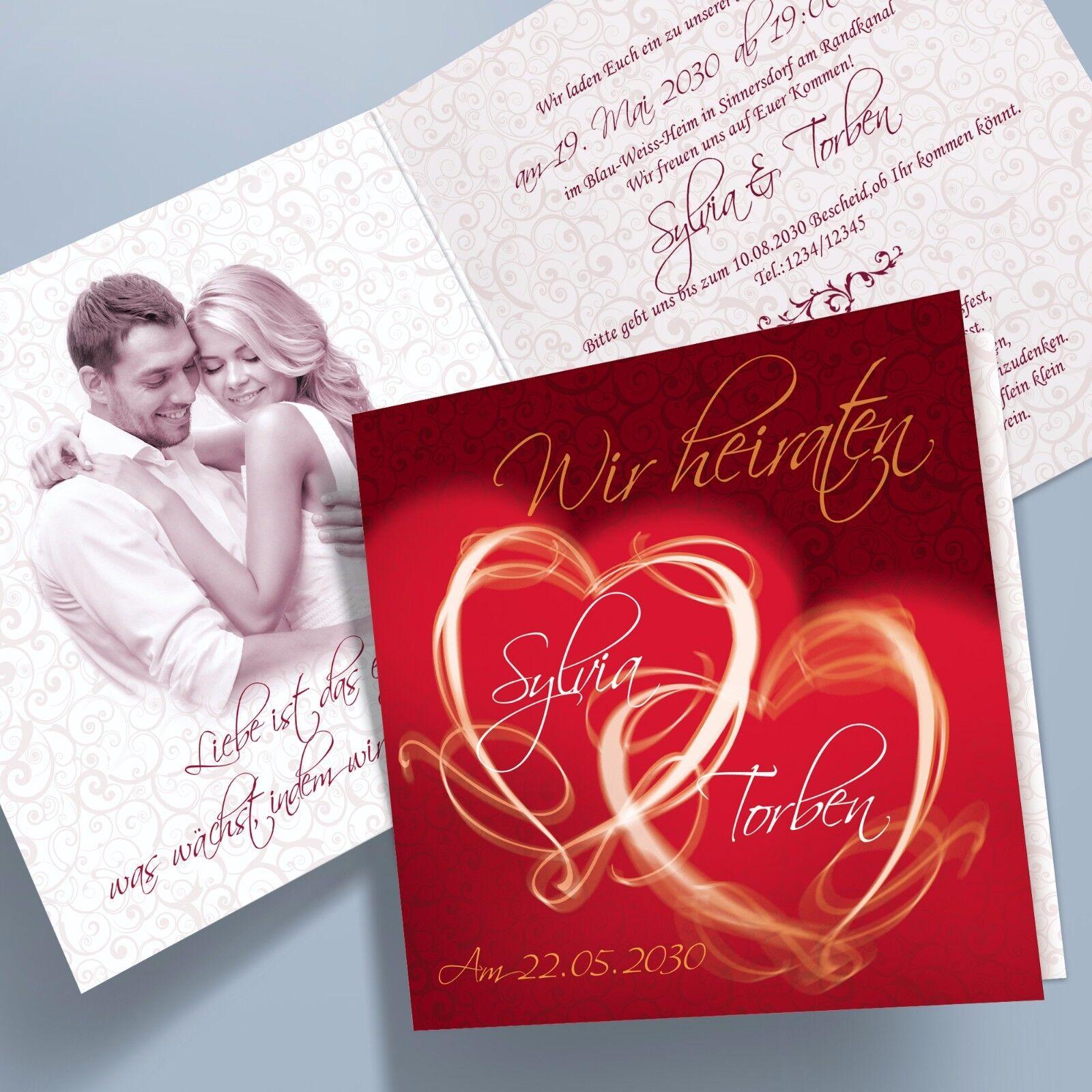 Personalisierte Einladungskarten Hochzeit Klappkarten – 11 dunkelrot quadratisch | Qualifizierte Herstellung  | In hohem Grade geschätzt und weit vertrautes herein und heraus