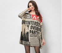 Womens Ladies Newspaper Fashion Printed Large Size Loose  Knitwear Top Blouses