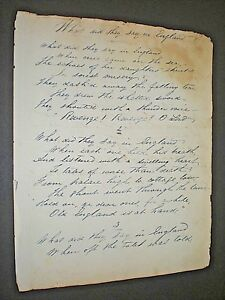 "Genuine Handwritten Poem From 1857 ""what Did They Say In England"" Manuscript. Manuscripts"