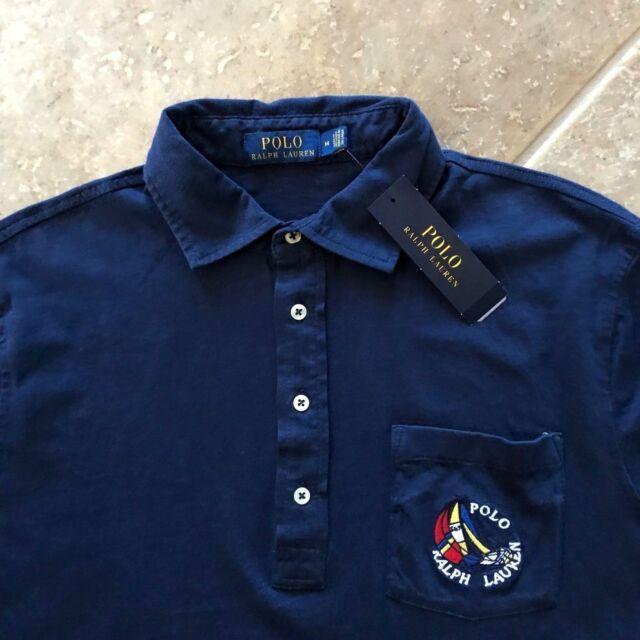 Polo Ralph Lauren Polo Shirt Mens L CP-93 Sailboat Regatta Navy Knit NWT $98