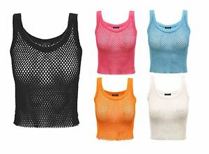 UK-Womens-Ladies-Vintage-Vest-Top-Cropped-Fishnet-Mesh-Cotton-String-Casual