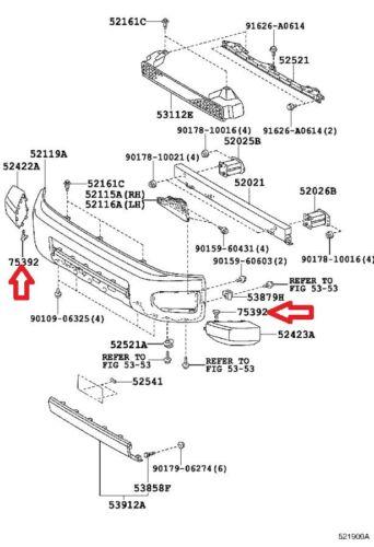 07-14 TOYOTA FJ CRUISER FRONT BUMPER CORNER END CAP RETAINER CLIP NEW QTY = 5