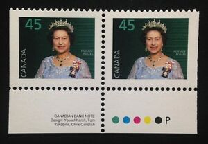 Canada-1360as-Tab-PP-MNH-Queen-Elizabeth-II-Booklet-Pair-of-Stamps-1995
