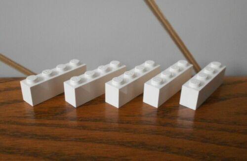 VINTAGE WHITE 4x1 1x4 BRICK spare part//piece x5 genuine LEGO Vintage Legoland