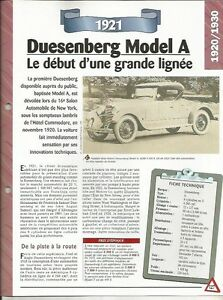 FICHE AUTOMOBILE - DUESENBERG MODEL A 1921 9Wyae4Vy-09152833-308921454