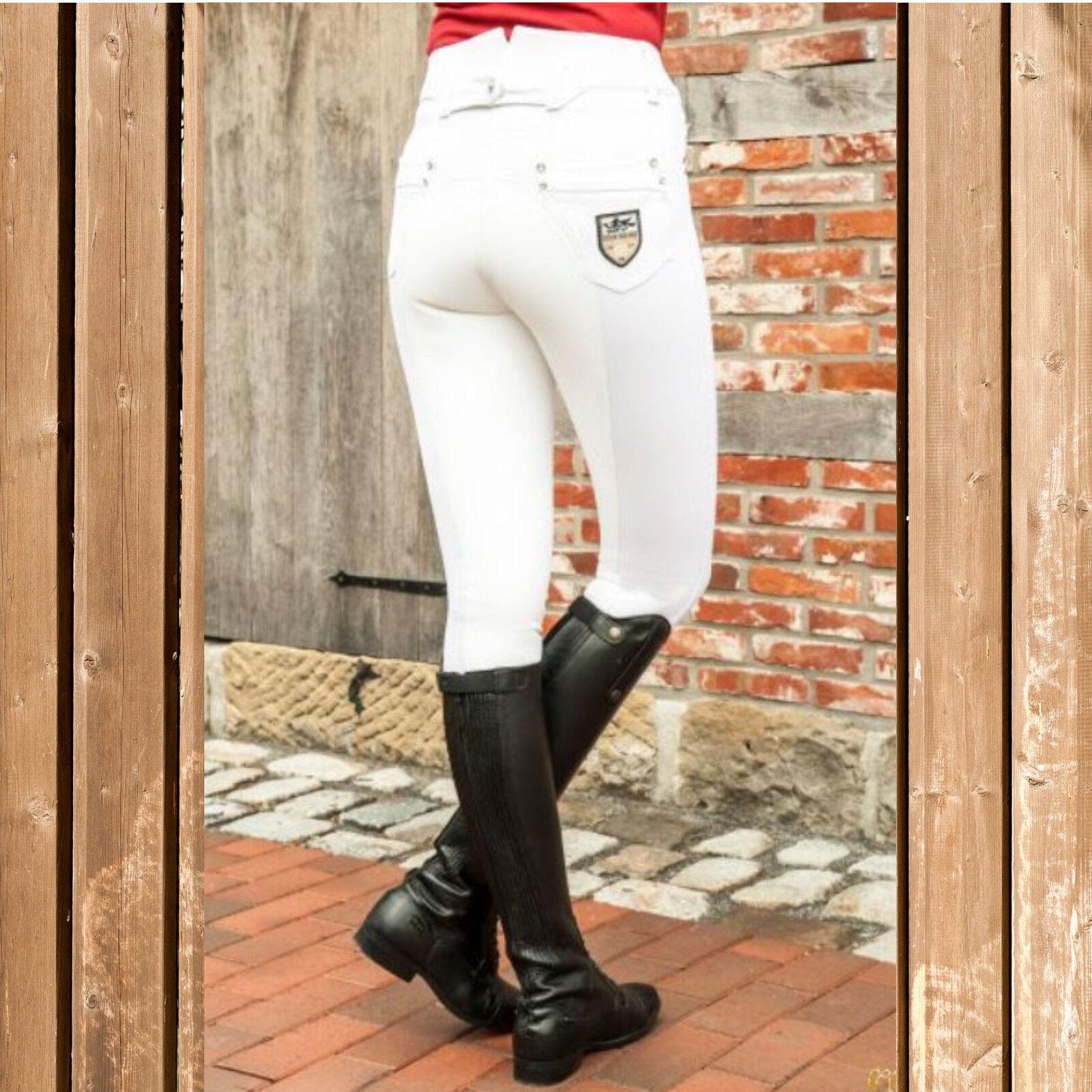 HKM jodhpurs, TournaSiet Jodhpurs Stiefel Riding Hose Miss Blink, High waist, Weiß