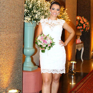 Image Is Loading Y Sheath White Lace Bridal Gown Short Grace