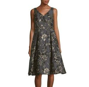 Adrianna Papell 174 10 Black Floral Jacquard Fit Amp Flare
