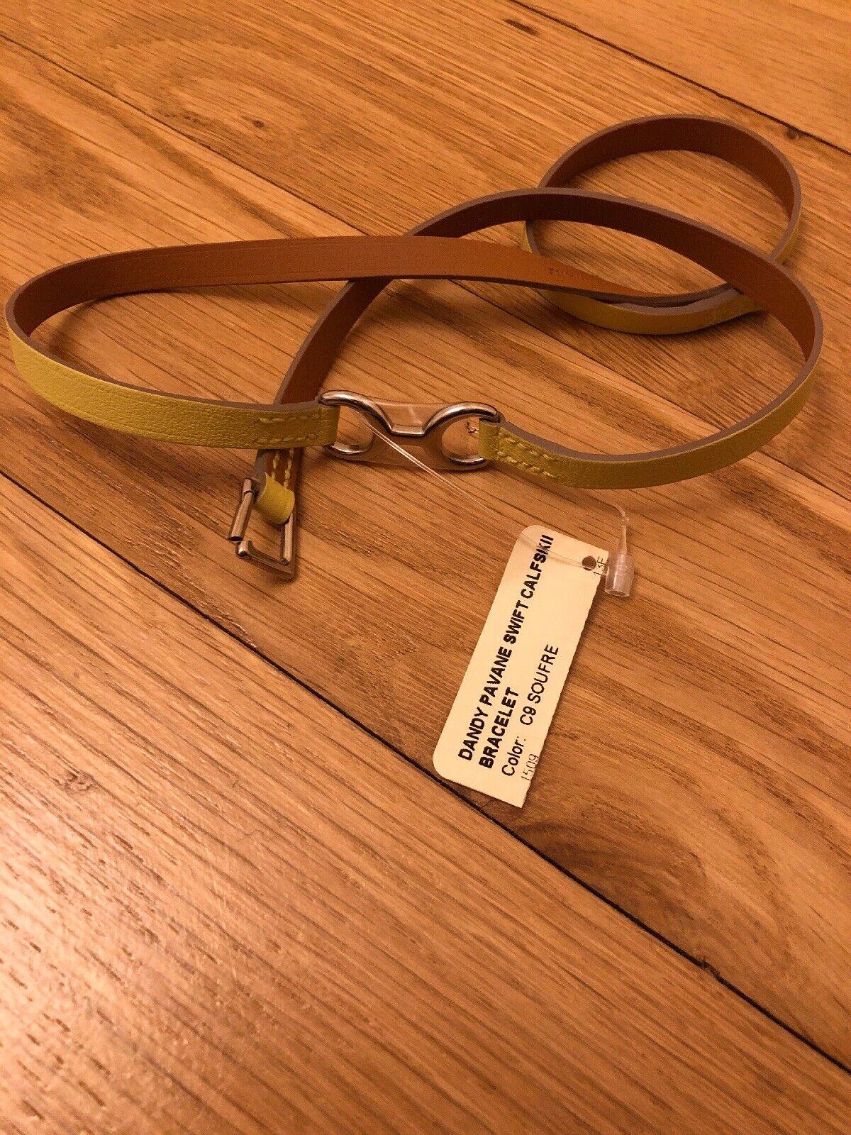 Hermes Wrap Bracelet Calfskin Yellow XS NWT