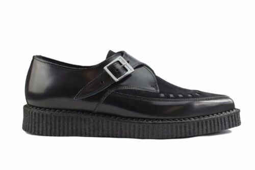 Steel Ground Shoes Black Leather Suede Point Creepers Monk Buckle Pointed