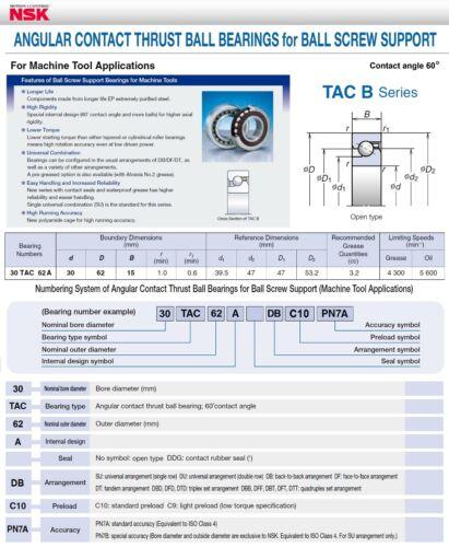 T NSK 30TAC62ADBC10PN7A SUPER PRECISION BEARINGS FAG BSB030062